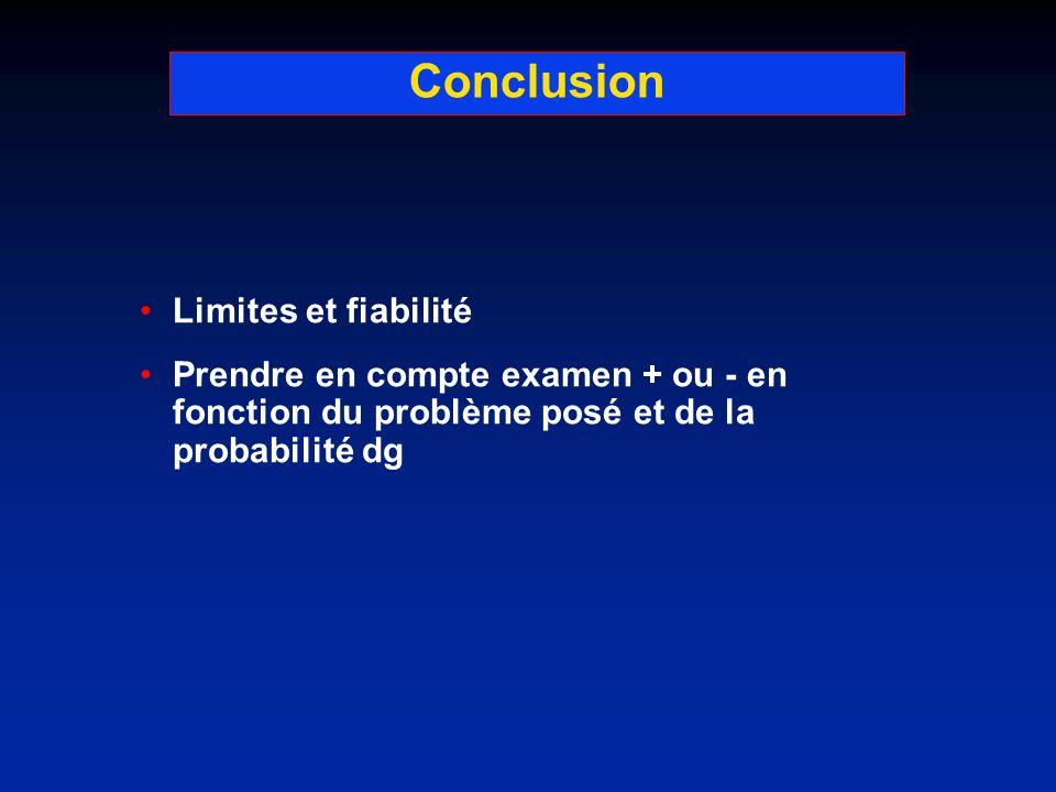 Conclusion Limites et fiabilité