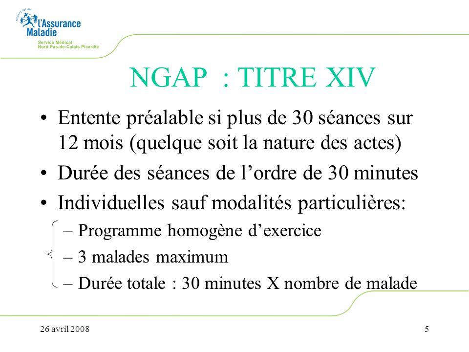 NGAP : TITRE XIV Entente préalable si plus de 30 séances sur 12 mois (quelque soit la nature des actes)
