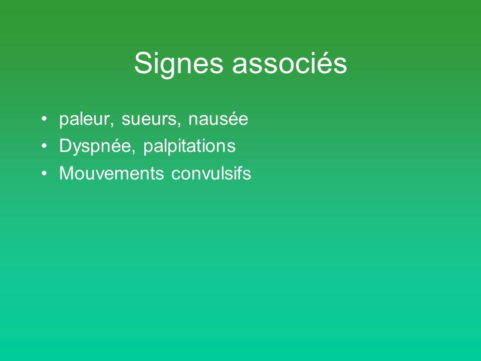 Signes associés paleur, sueurs, nausée Dyspnée, palpitations