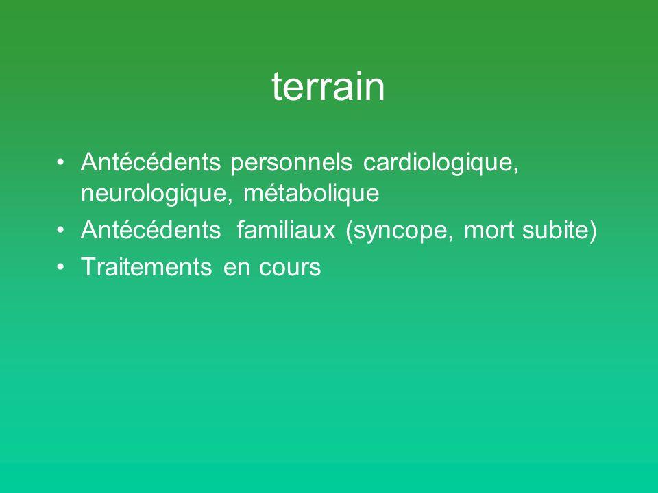 terrain Antécédents personnels cardiologique, neurologique, métabolique. Antécédents familiaux (syncope, mort subite)