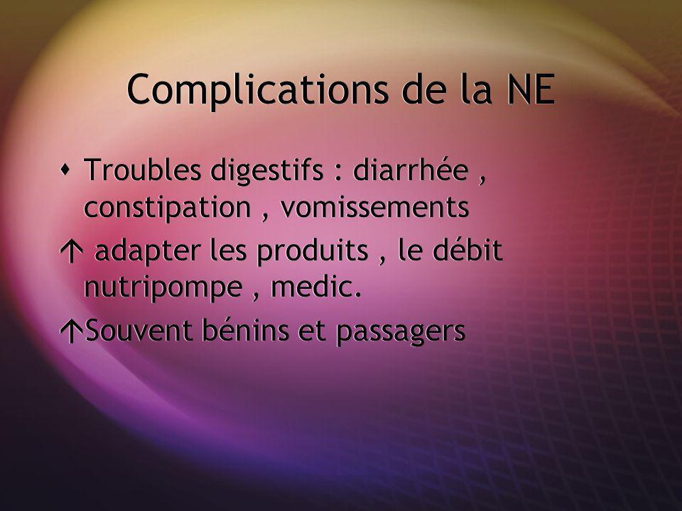 Complications de la NE Troubles digestifs : diarrhée , constipation , vomissements. adapter les produits , le débit nutripompe , medic.