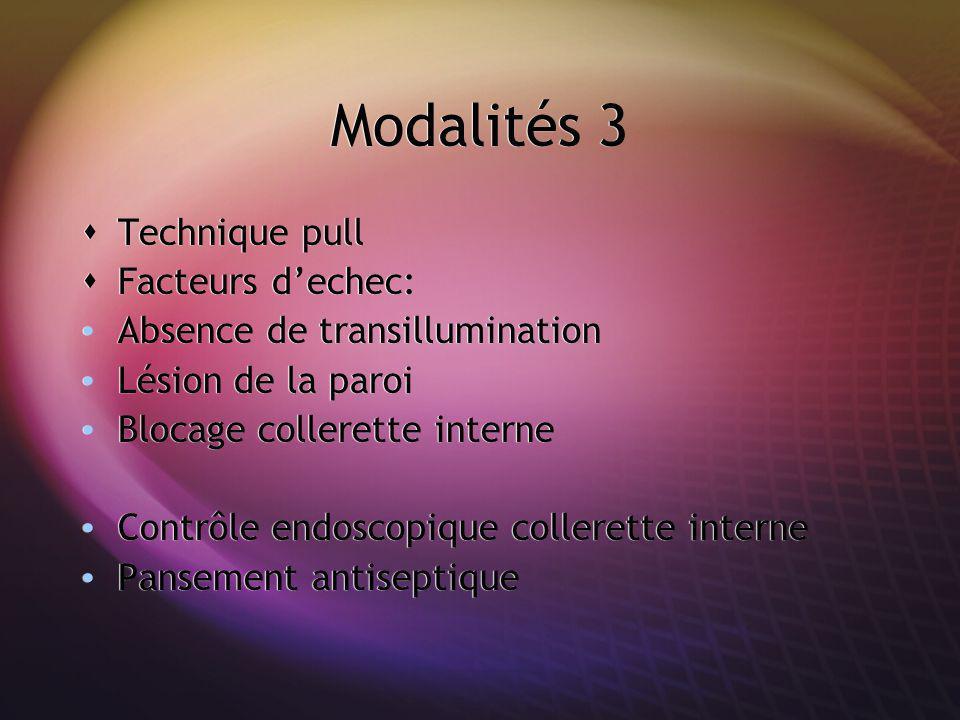 Modalités 3 Technique pull Facteurs d'echec: