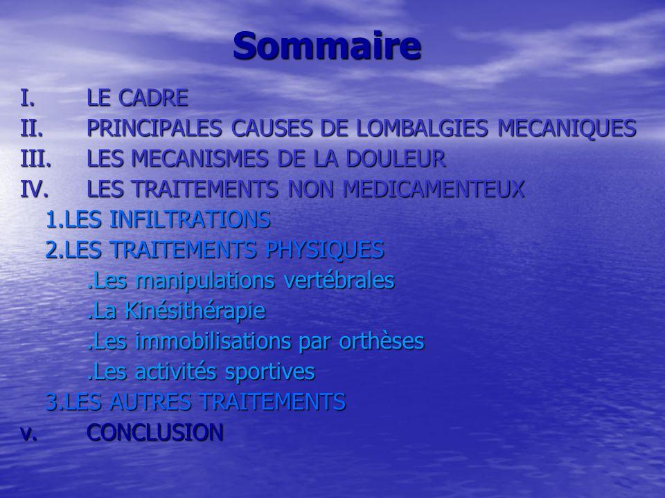 Sommaire I. LE CADRE II. PRINCIPALES CAUSES DE LOMBALGIES MECANIQUES