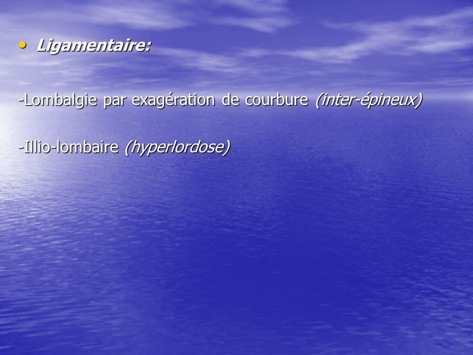 Ligamentaire: -Lombalgie par exagération de courbure (inter-épineux) -Illio-lombaire (hyperlordose)
