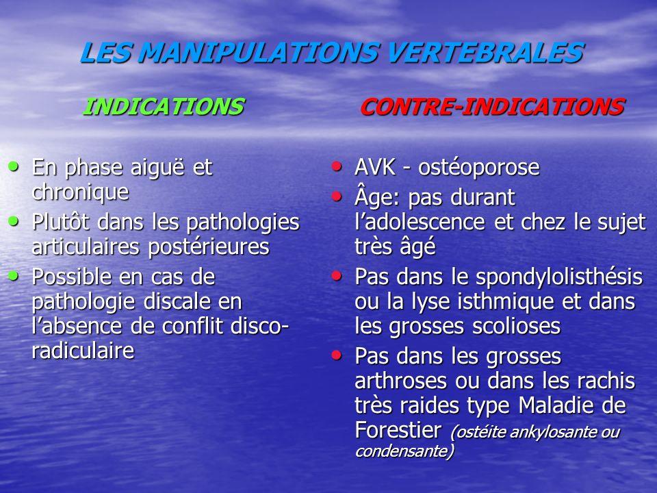 LES MANIPULATIONS VERTEBRALES