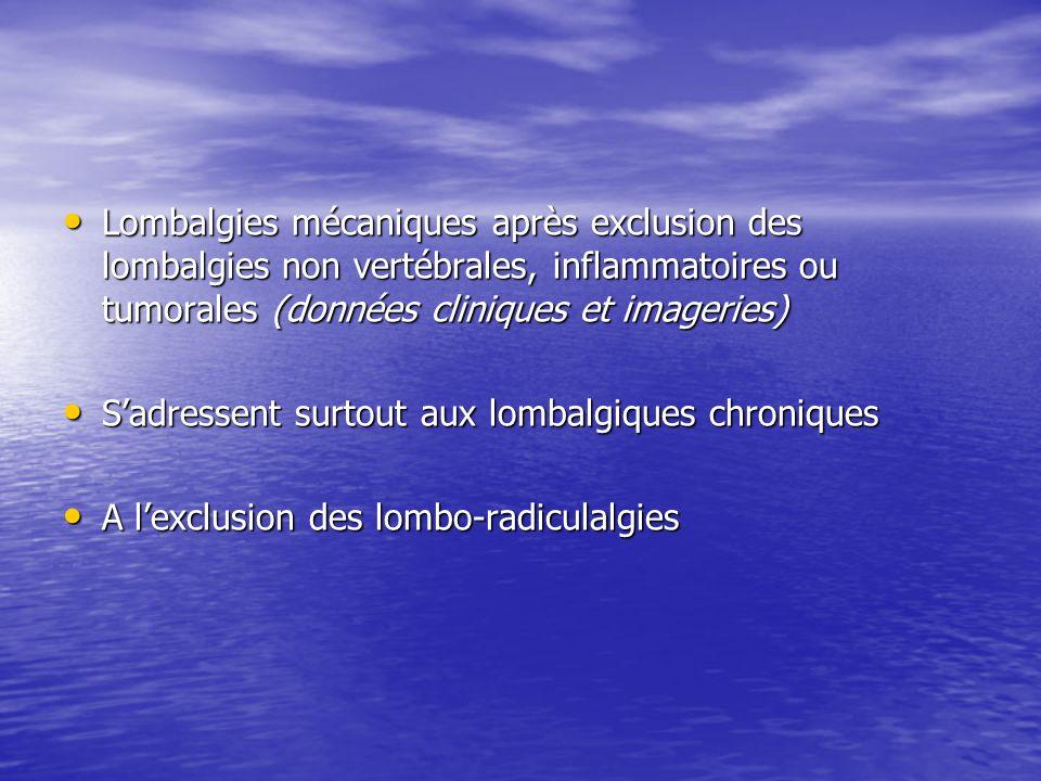 Lombalgies mécaniques après exclusion des lombalgies non vertébrales, inflammatoires ou tumorales (données cliniques et imageries)