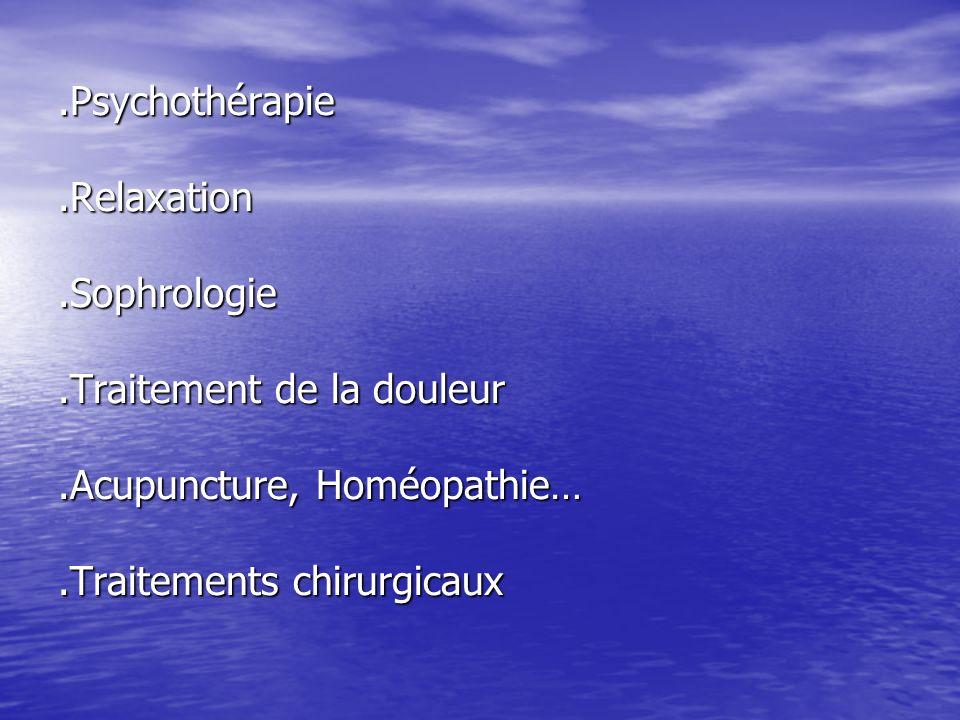 Psychothérapie. Relaxation. Sophrologie. Traitement de la douleur