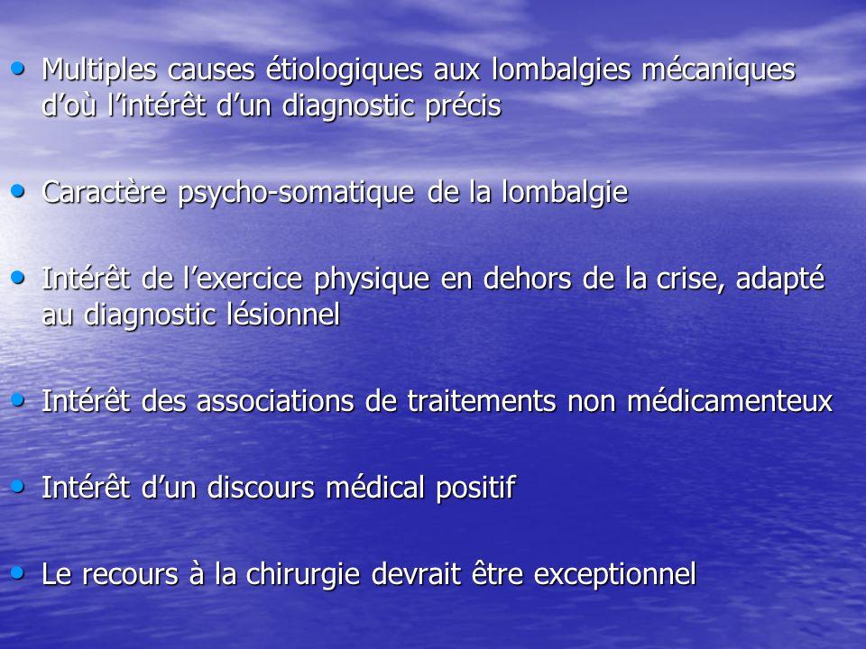 Multiples causes étiologiques aux lombalgies mécaniques d'où l'intérêt d'un diagnostic précis