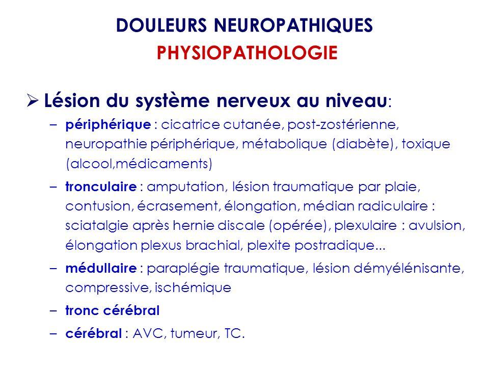 DOULEURS NEUROPATHIQUES PHYSIOPATHOLOGIE