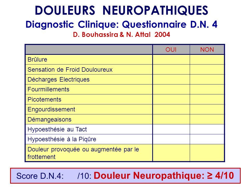DOULEURS NEUROPATHIQUES Diagnostic Clinique: Questionnaire D.N. 4