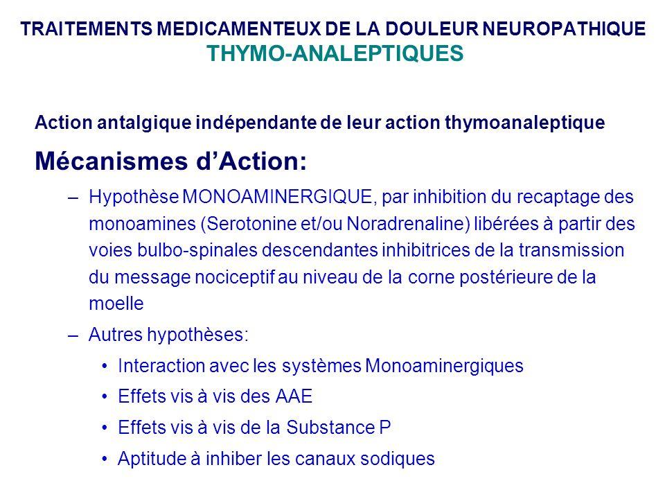 TRAITEMENTS MEDICAMENTEUX DE LA DOULEUR NEUROPATHIQUE THYMO-ANALEPTIQUES
