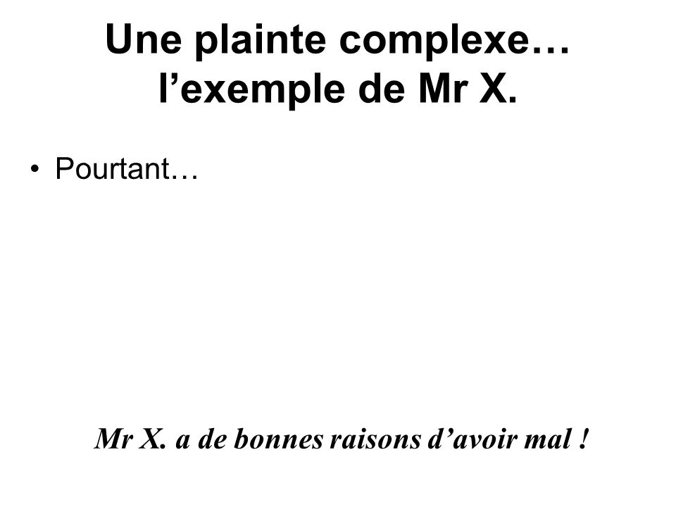 Une plainte complexe… l'exemple de Mr X.