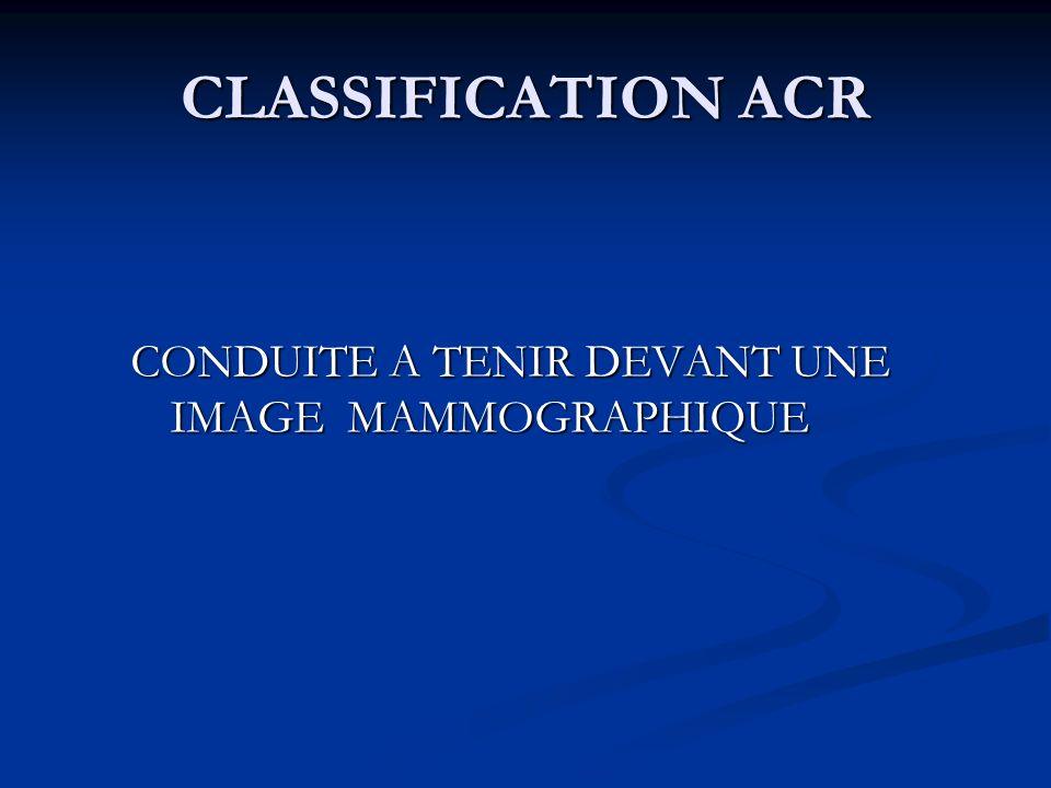CLASSIFICATION ACR CONDUITE A TENIR DEVANT UNE IMAGE MAMMOGRAPHIQUE