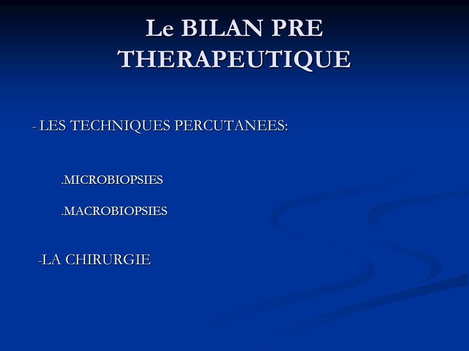 Le BILAN PRE THERAPEUTIQUE