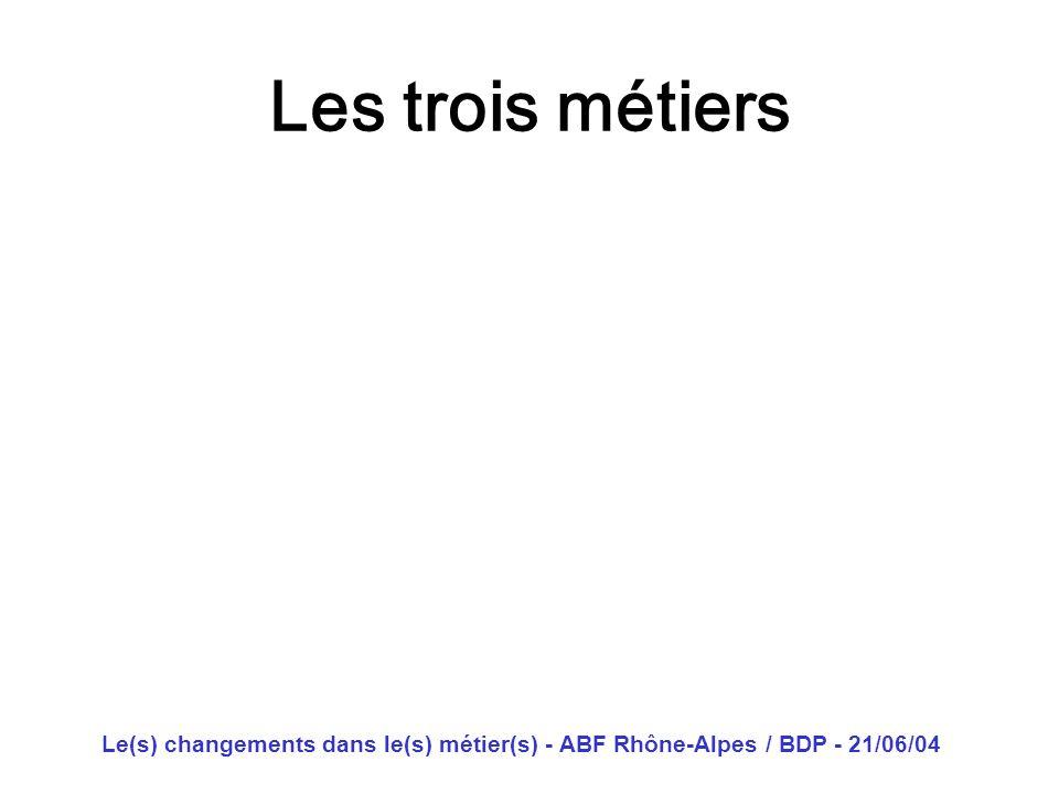 Les trois métiers Le(s) changements dans le(s) métier(s) - ABF Rhône-Alpes / BDP - 21/06/04