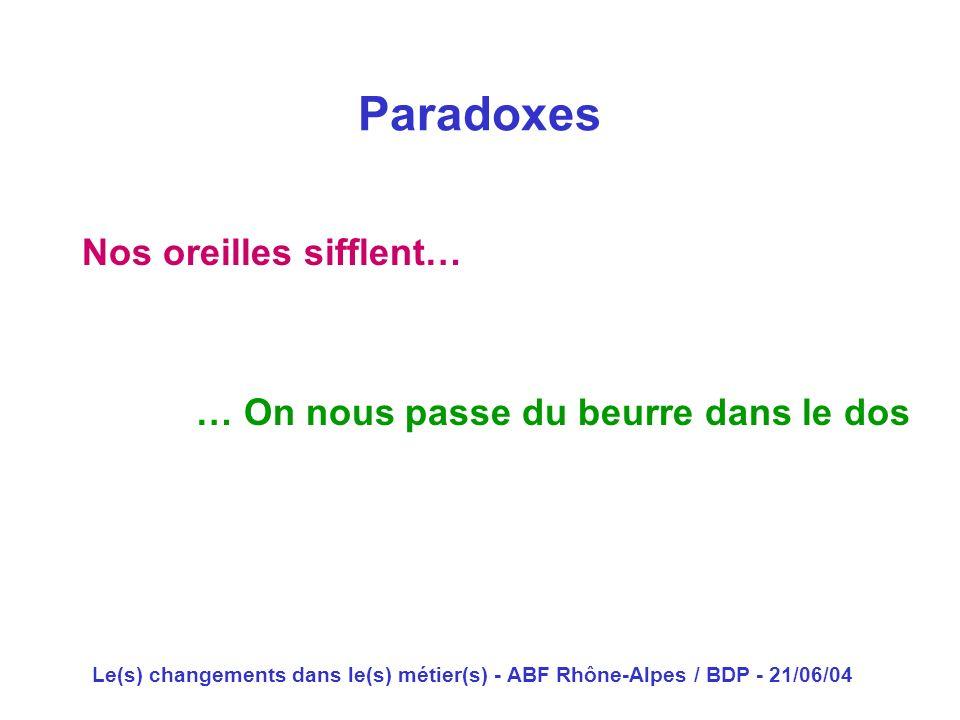 Paradoxes Nos oreilles sifflent… … On nous passe du beurre dans le dos