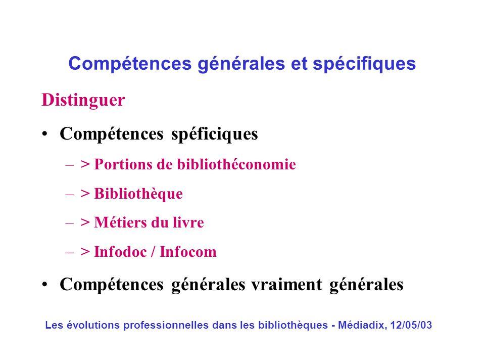 Compétences générales et spécifiques
