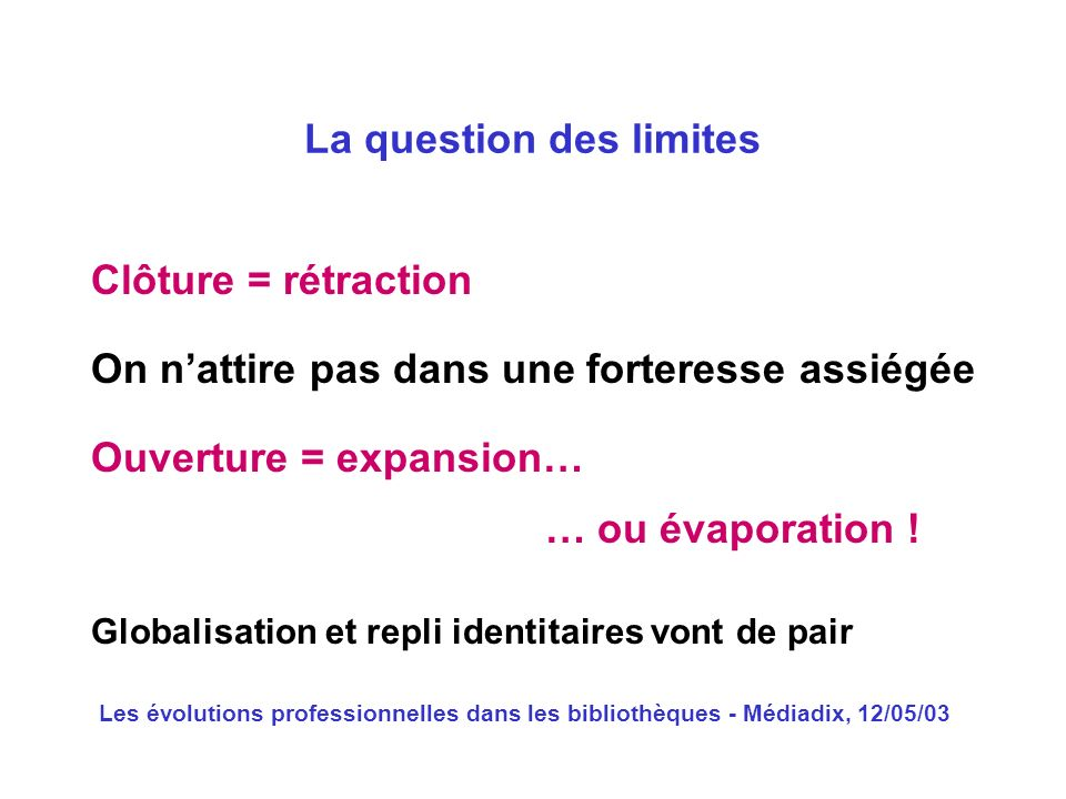 La question des limites