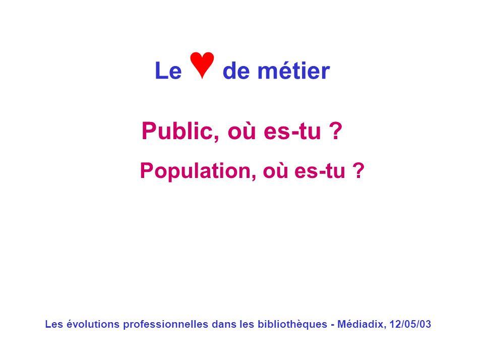 Le ♥ de métier Public, où es-tu Population, où es-tu