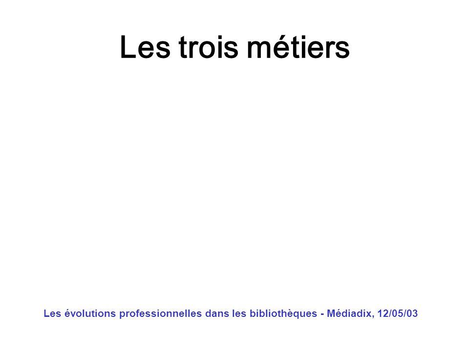 Les trois métiers Les évolutions professionnelles dans les bibliothèques - Médiadix, 12/05/03