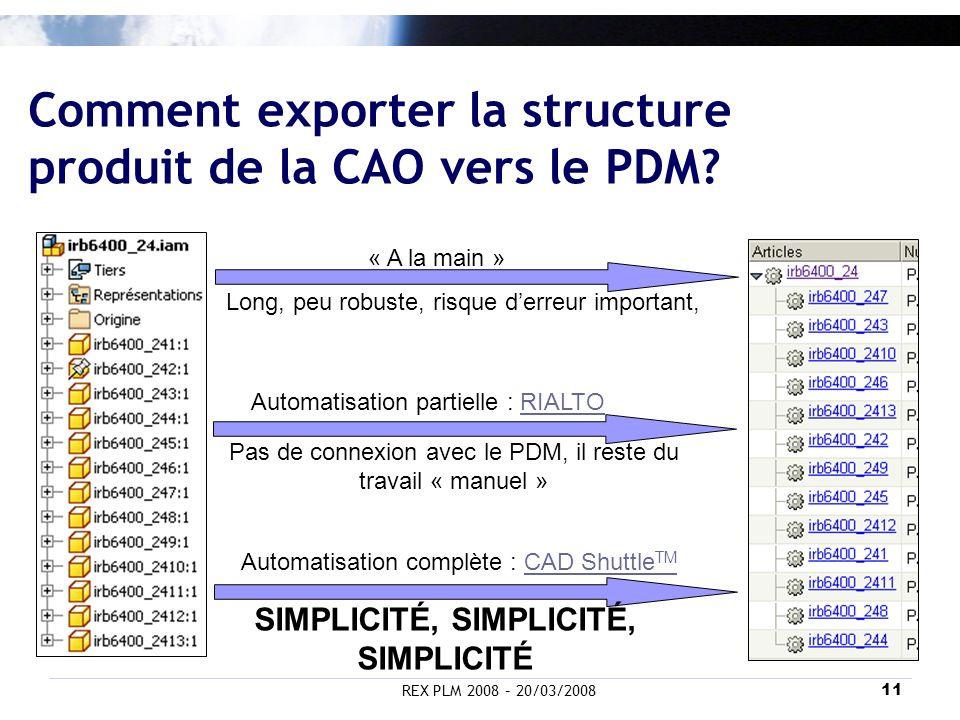 Comment exporter la structure produit de la CAO vers le PDM