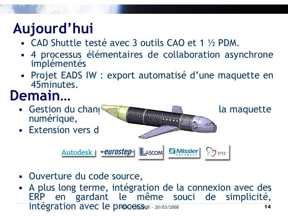Aujourd'hui Demain… CAD Shuttle testé avec 3 outils CAO et 1 ½ PDM.