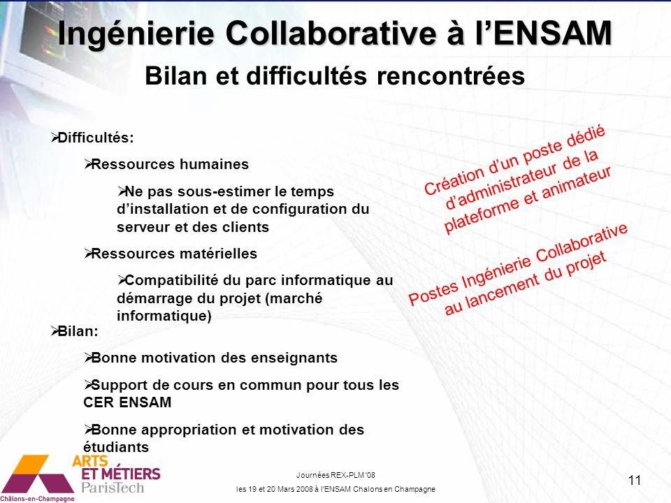 Ingénierie Collaborative à l'ENSAM Bilan et difficultés rencontrées