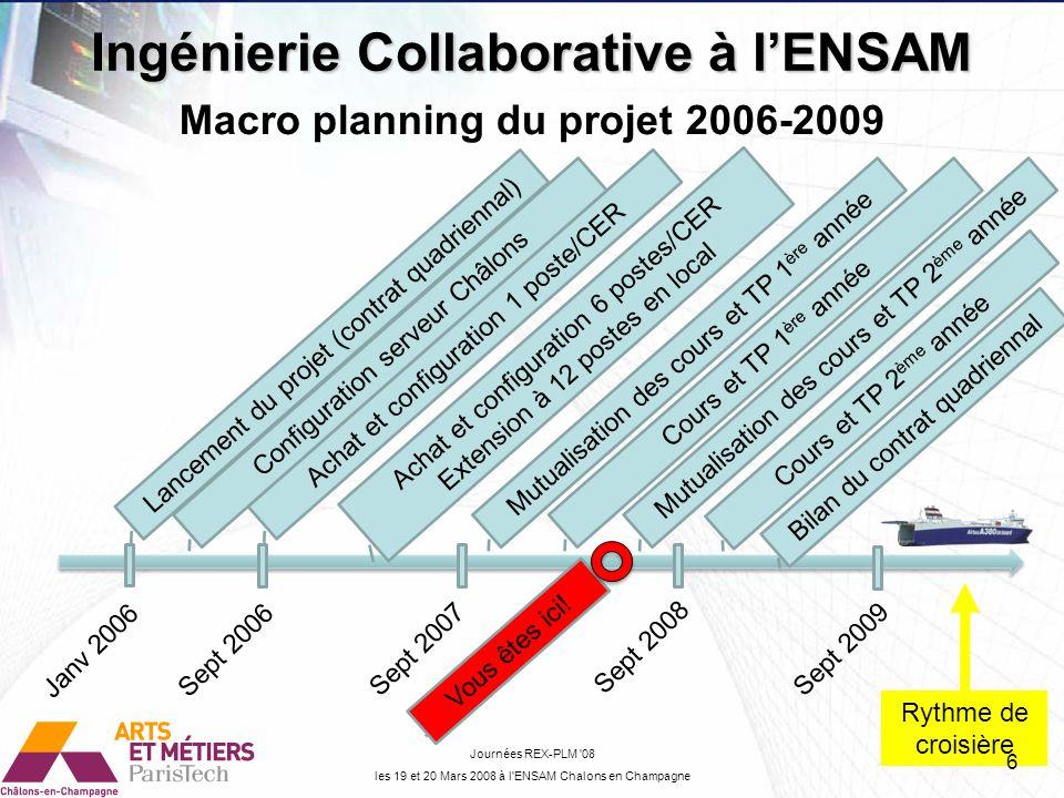 Ingénierie Collaborative à l'ENSAM Macro planning du projet 2006-2009