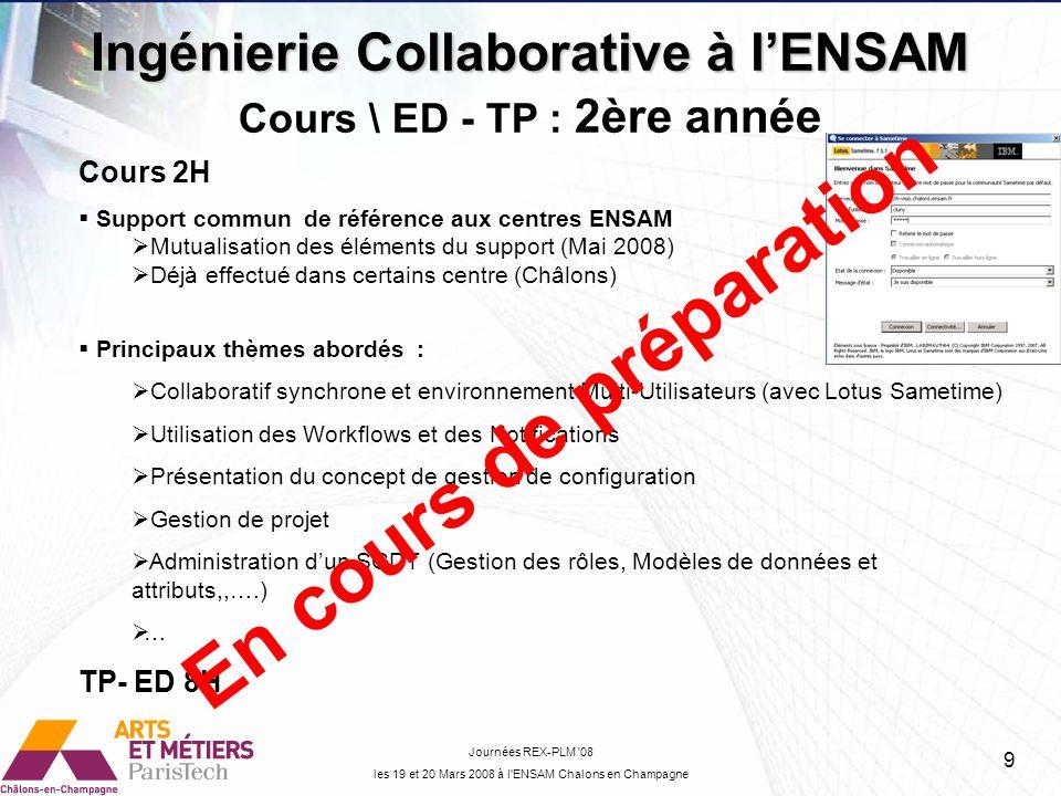 Ingénierie Collaborative à l'ENSAM Cours \ ED - TP : 2ère année
