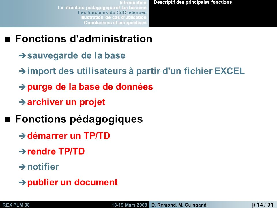 Fonctions d administration