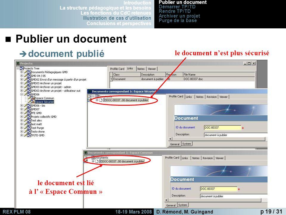 le document est lié à l' « Espace Commun »