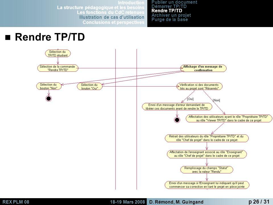 Rendre TP/TD Introduction La structure pédagogique et les besoins