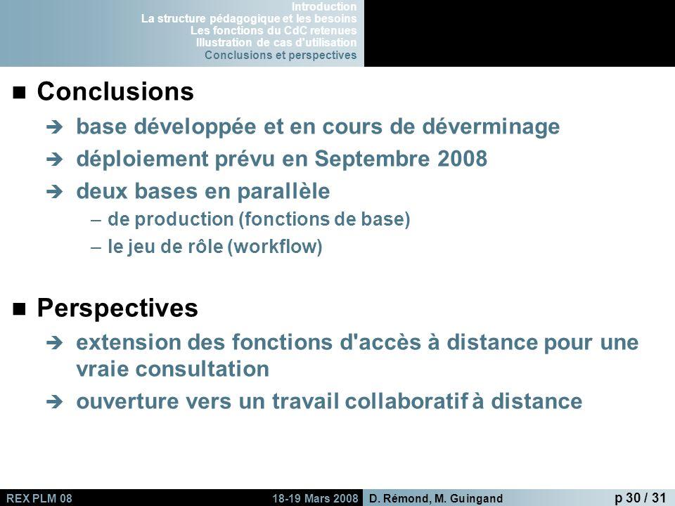 Conclusions Perspectives base développée et en cours de déverminage