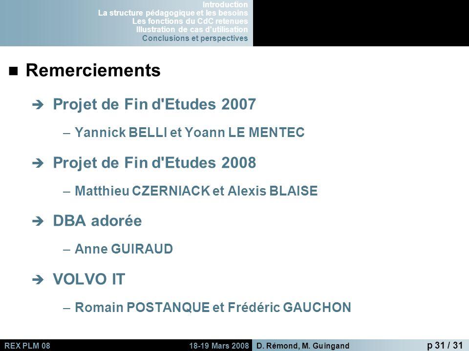 Remerciements Projet de Fin d Etudes 2007 Projet de Fin d Etudes 2008