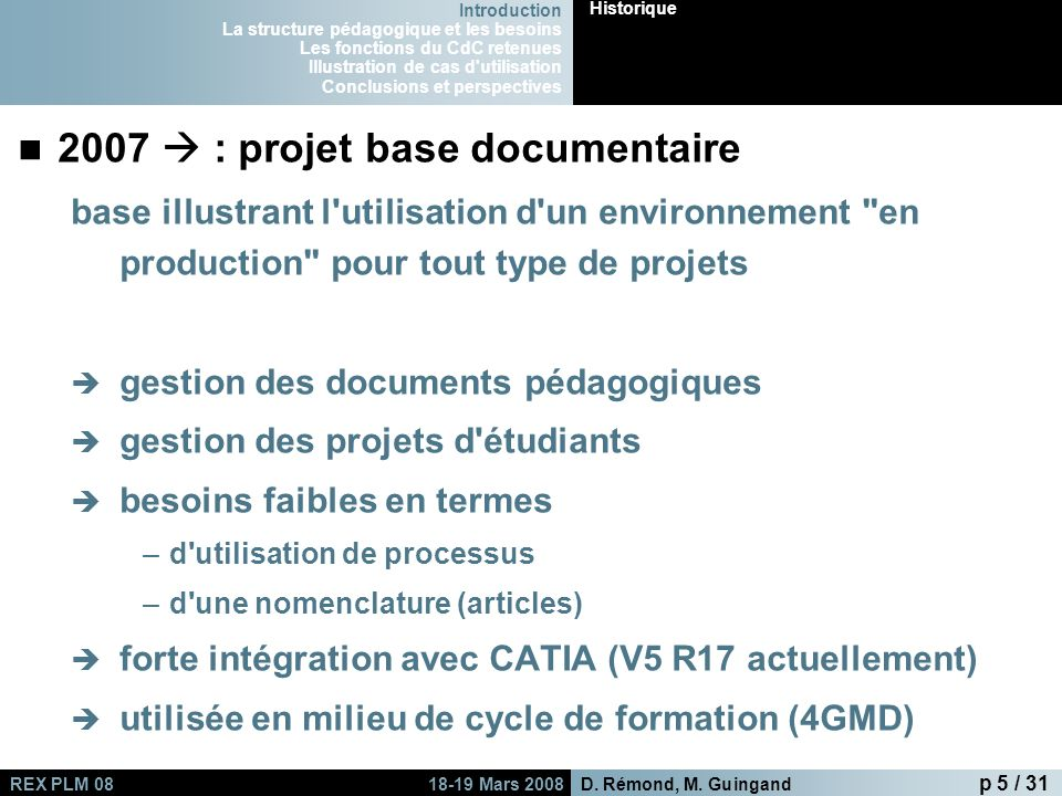 2007  : projet base documentaire