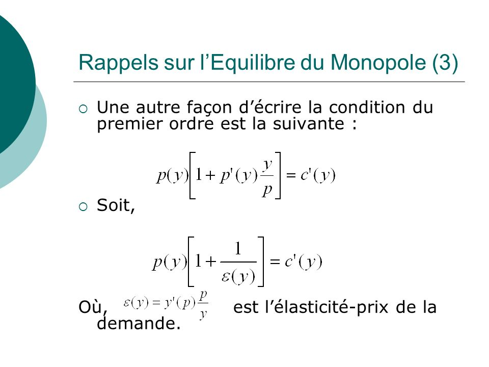 Rappels sur l'Equilibre du Monopole (3)