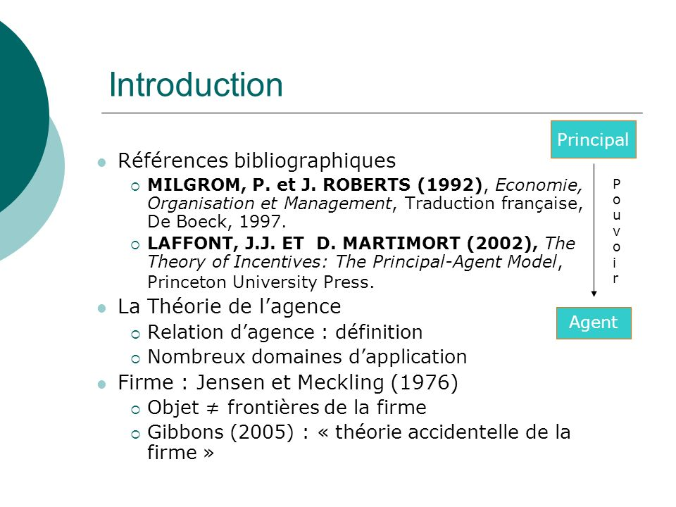 Introduction Références bibliographiques La Théorie de l'agence
