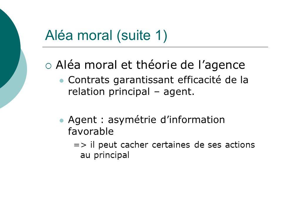 Aléa moral (suite 1) Aléa moral et théorie de l'agence