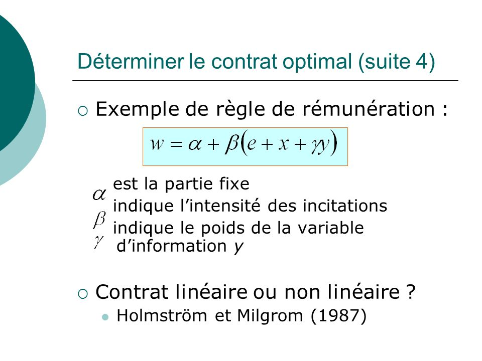 Déterminer le contrat optimal (suite 4)