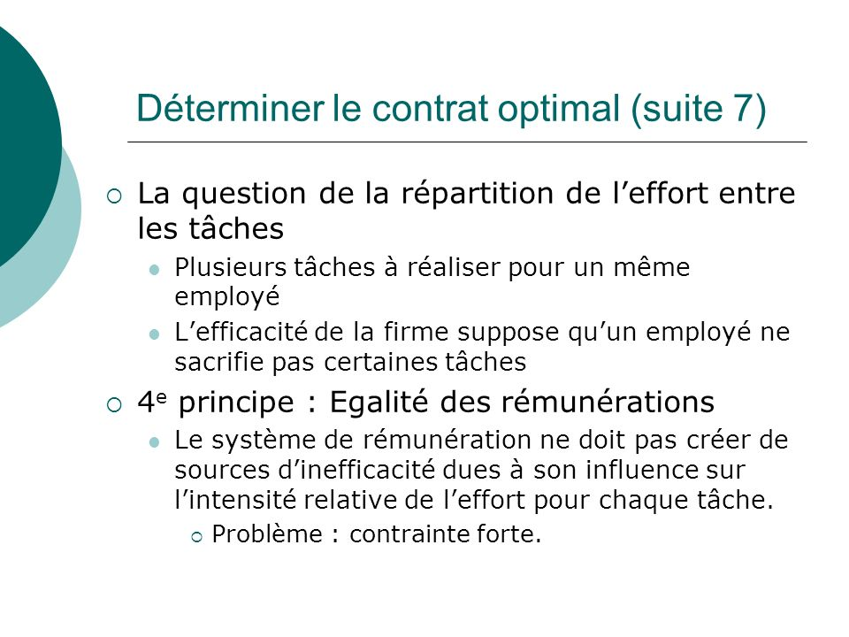 Déterminer le contrat optimal (suite 7)