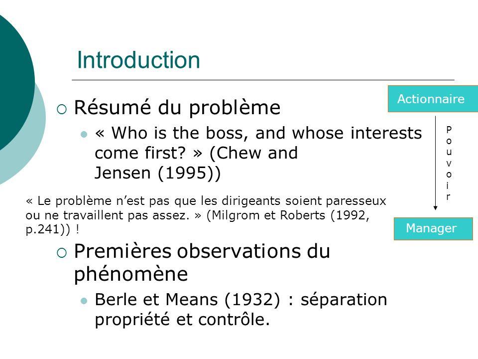 Introduction Résumé du problème Premières observations du phénomène
