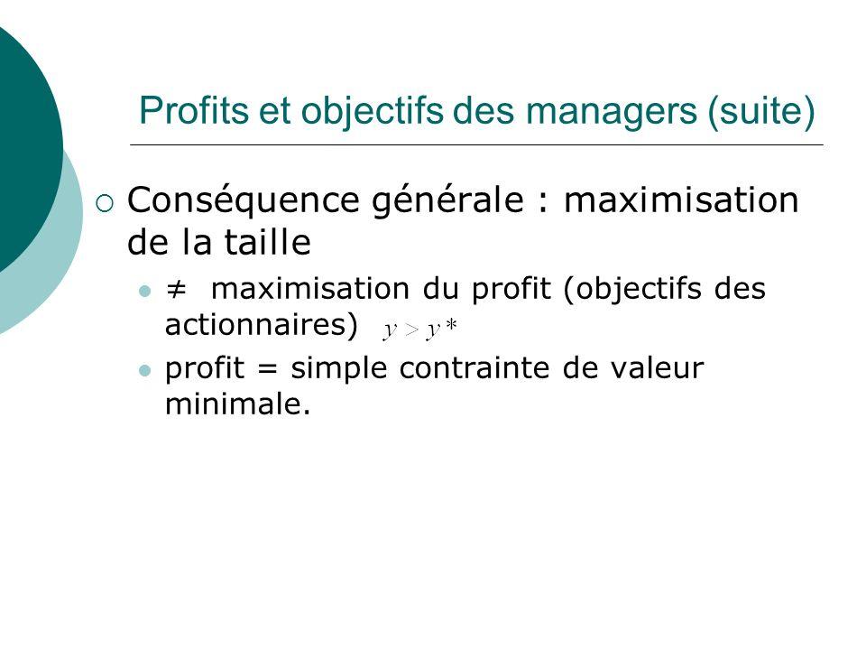 Profits et objectifs des managers (suite)