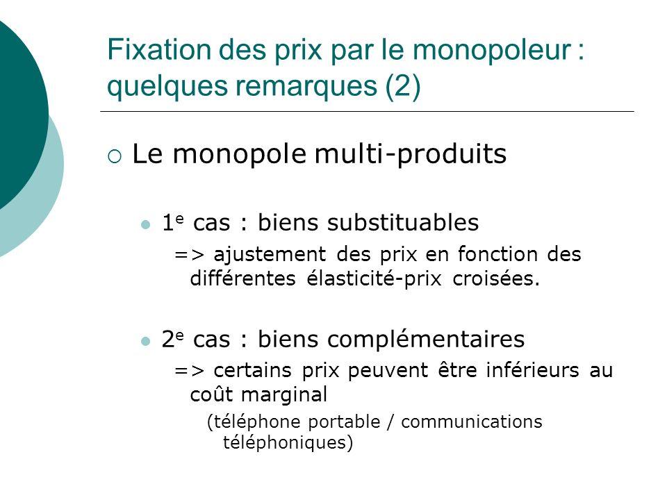 Fixation des prix par le monopoleur : quelques remarques (2)