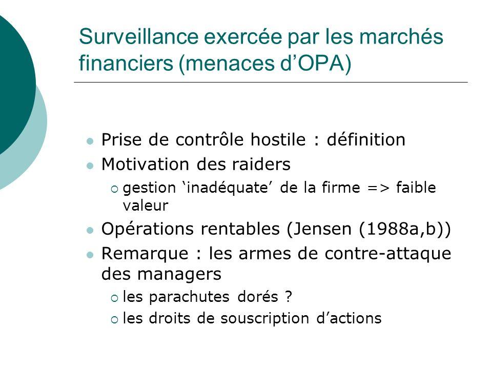 Surveillance exercée par les marchés financiers (menaces d'OPA)