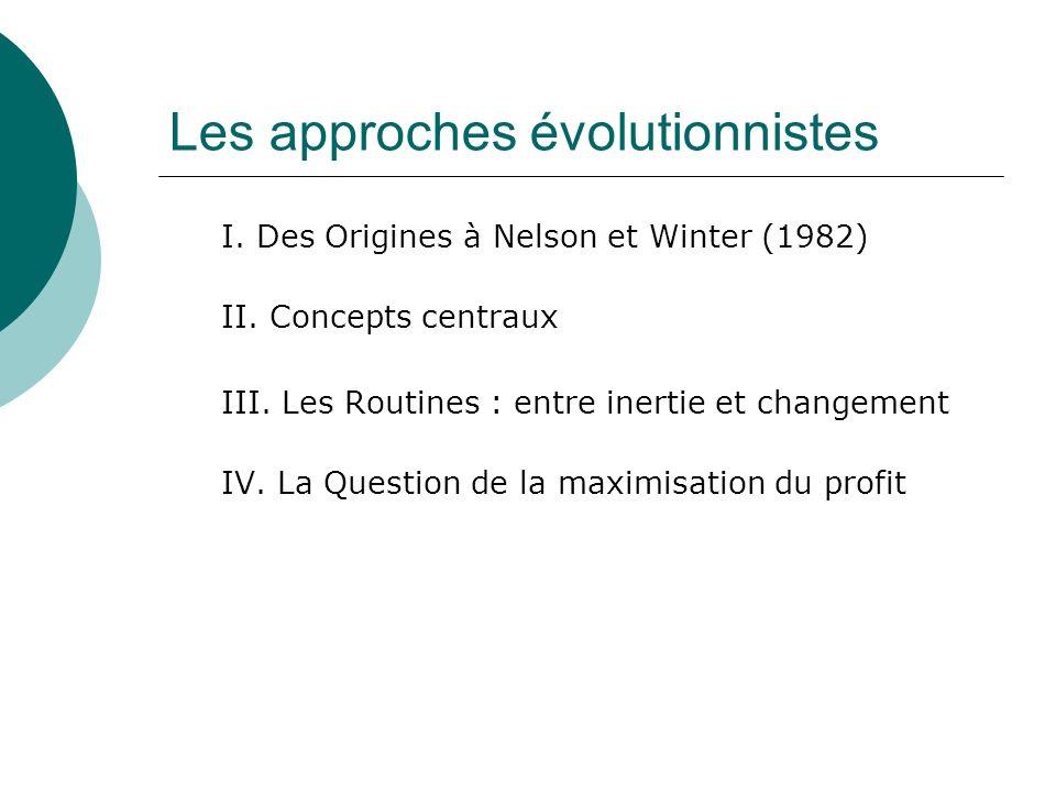 Les approches évolutionnistes