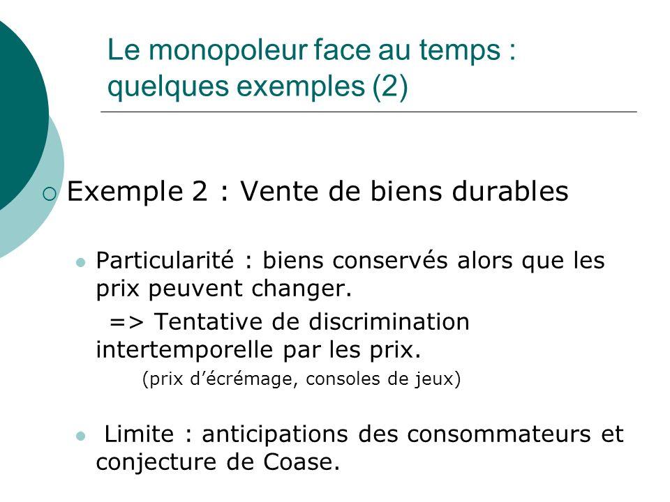 Le monopoleur face au temps : quelques exemples (2)