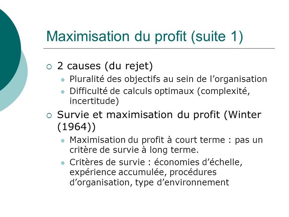Maximisation du profit (suite 1)