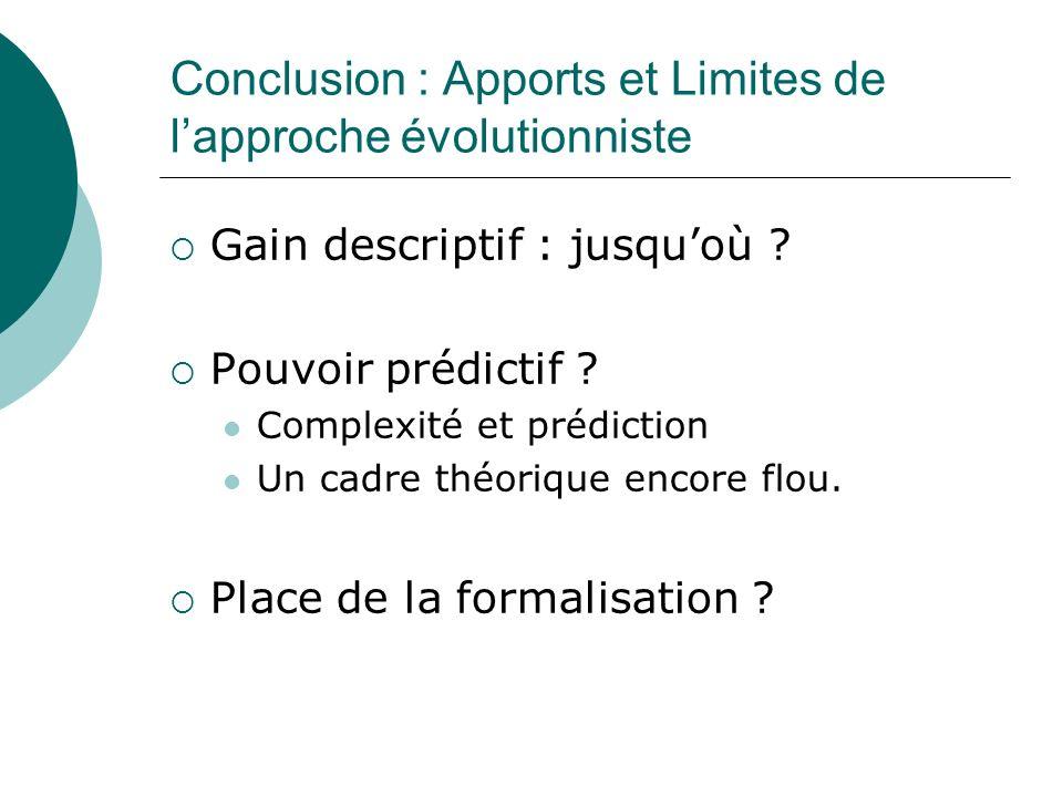 Conclusion : Apports et Limites de l'approche évolutionniste