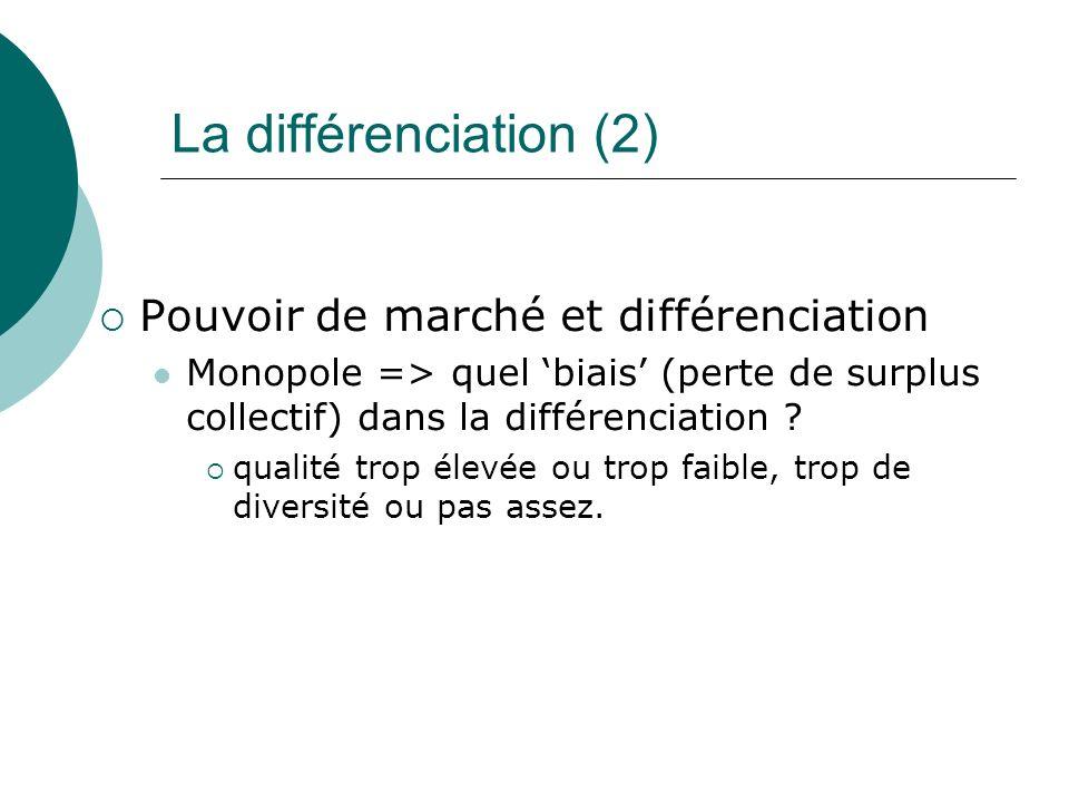 La différenciation (2) Pouvoir de marché et différenciation