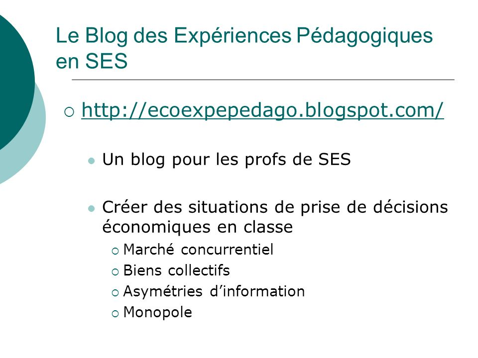 Le Blog des Expériences Pédagogiques en SES